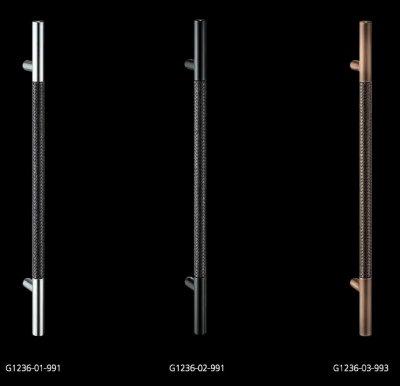 画像1: ブレイドレザー ブラック +ステンレス ミラーハンドル(両側タイプ)/全長:600mm