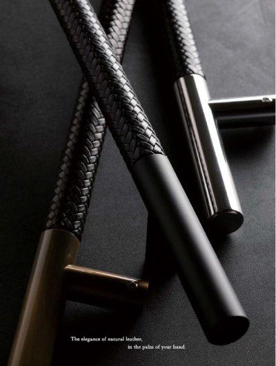 画像2: ブレイドレザー ブラック +ステンレス ミラーハンドル(両側タイプ)/全長:600mm