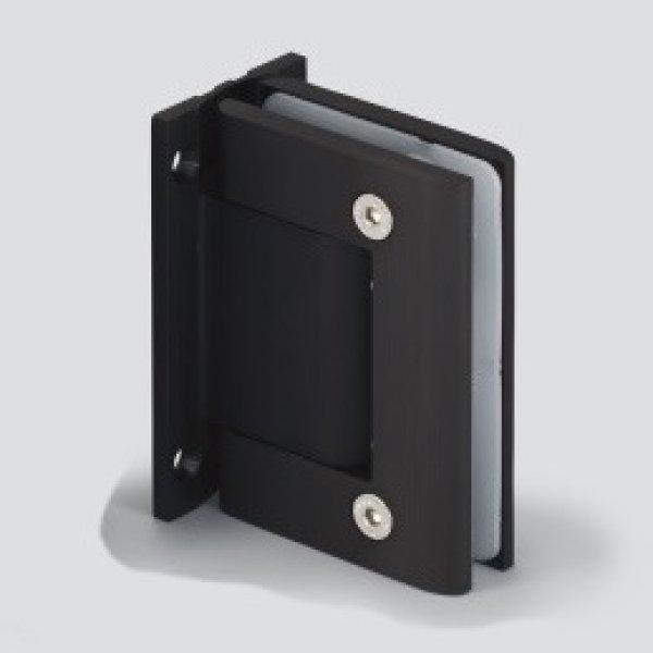 画像1: ソフトクロージング機構付ガラスドア用自由丁番(黒丁番) 壁取付タイプ 2個セット (1)