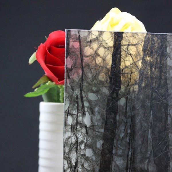 画像1: 和紙合わせガラス ブラック (1)