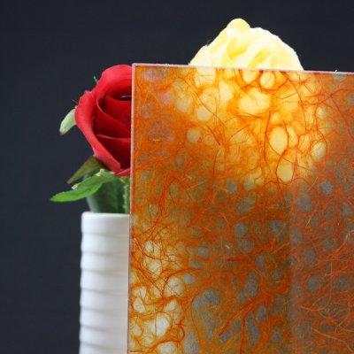 画像1: 和紙合わせガラス オレンジ