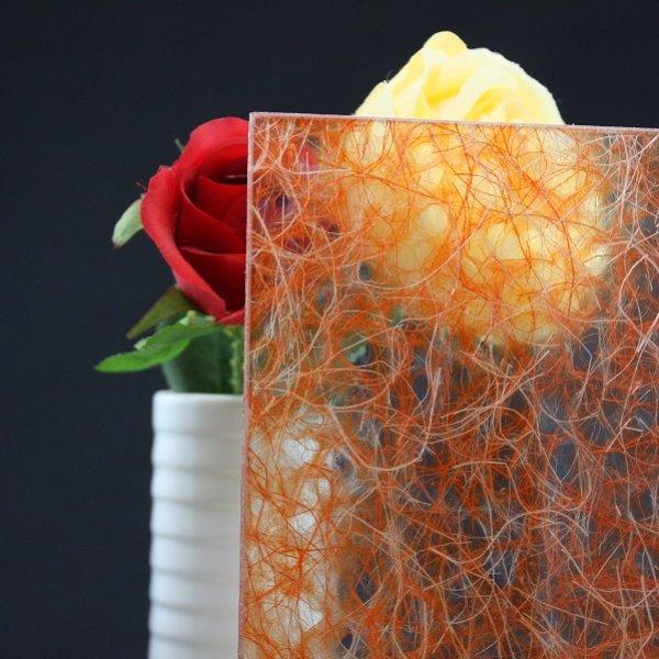 画像1: 和紙合わせガラス ダークオレンジ (1)