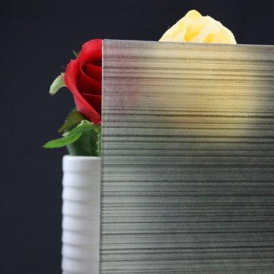 画像1: 和紙合わせガラス 横線(グレー)
