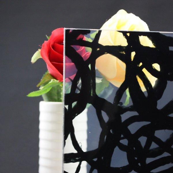 画像1: 和紙合わせガラス 渦(ブラック) (1)