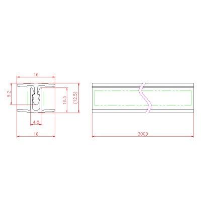 画像3: ジョイントシール OT-H500/ガラス厚10mm、12mm用/長さ:3m×2組