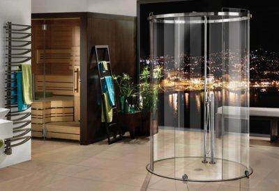 画像1: ガラス円柱シャワーブース引戸 テラ