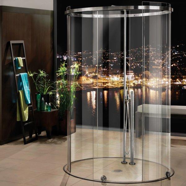 画像1: ガラス円柱シャワーブース引戸 テラ (1)