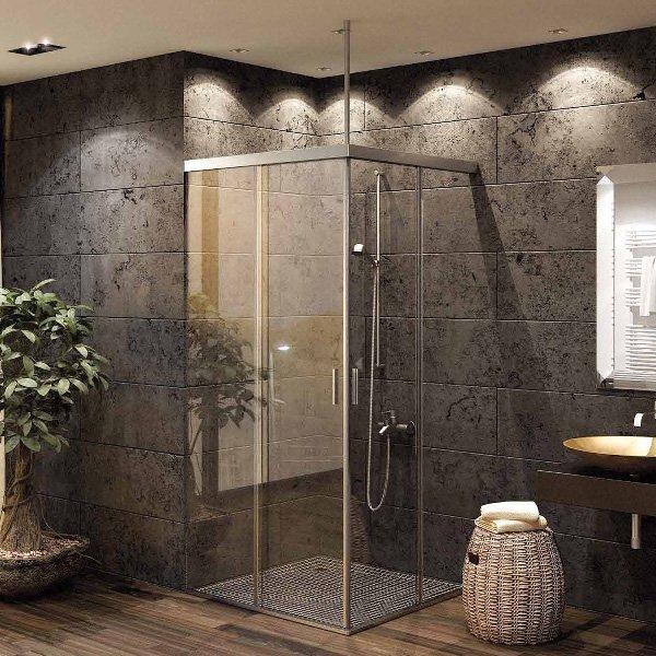 画像1: シャワー室ガラスドア(コーナー取付タイプ) (1)