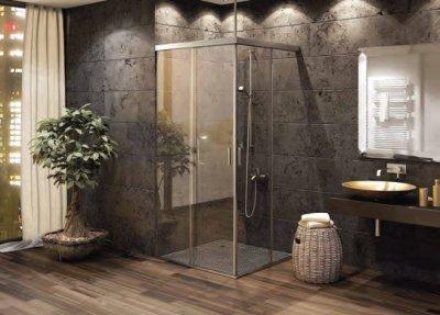 画像1: シャワー室ガラスドア(コーナー取付タイプ)