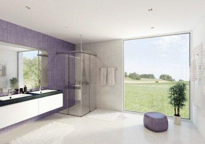 画像2: シャワー室ガラスドア(コーナー取付タイプ)