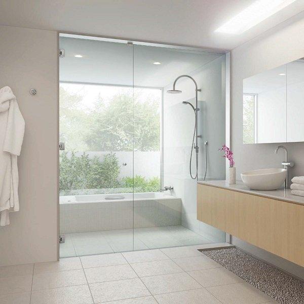 画像1: 浴室のガラスドアセット  D+kuru-M85タイプ (1)