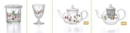 イチゴ柄の「ガラス食器」