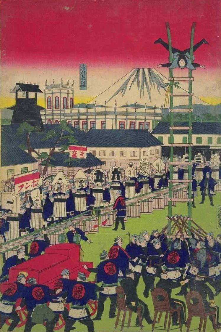 明治8年(1875年)の八代洲町警視庁火消出初式