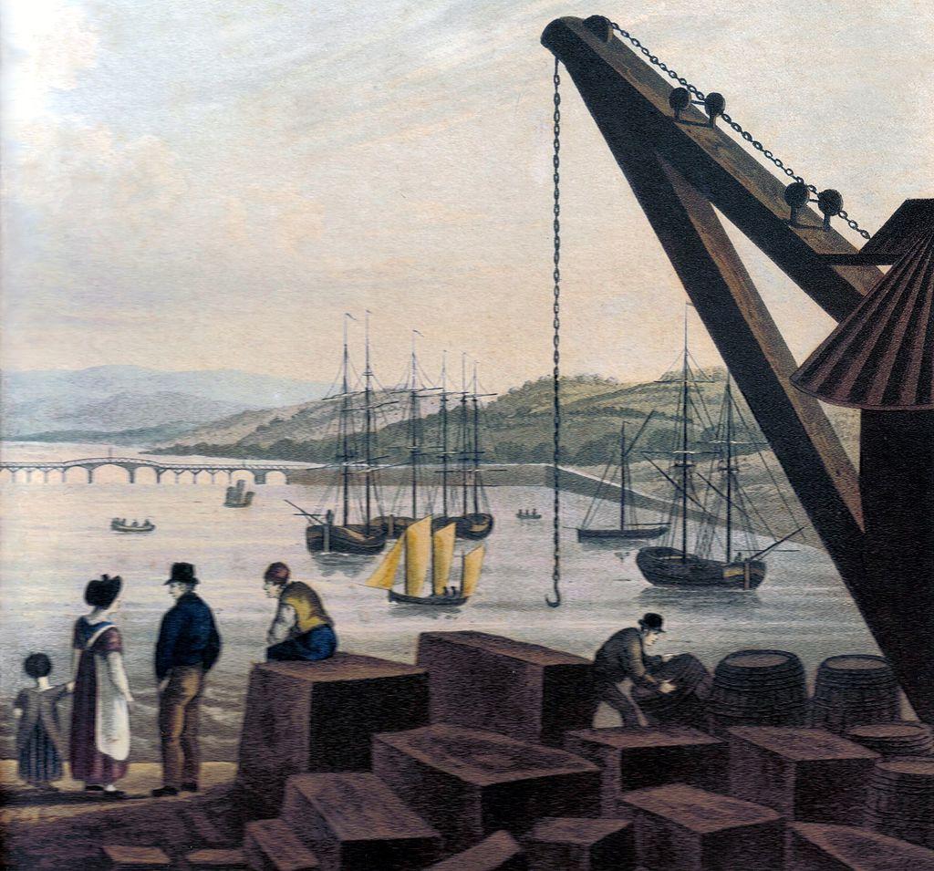 イギリス・テインマスで積み下ろしされている花崗岩規格石材