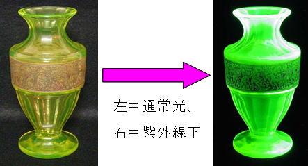紫外線(ブラックライト)で蛍光を発するウランガラス