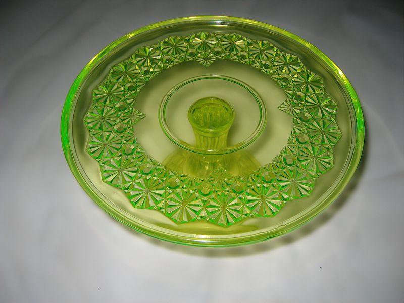 ウランガラス製のケーキ皿