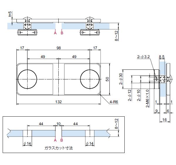 OT-B245-SUSステンレスジョイントフィックス(90° タイプ)寸法図