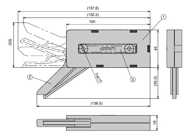 ダンパーキャッチ DC-200寸法図本体