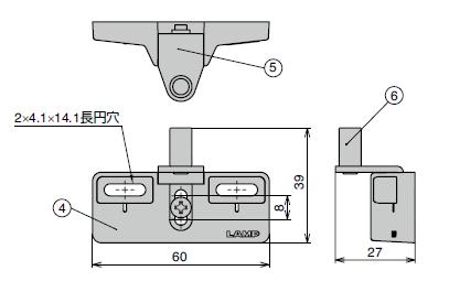 ダンパーキャッチ DC-200寸法図受座