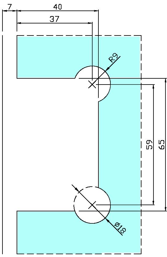ガラス切り欠き図 B8201-1