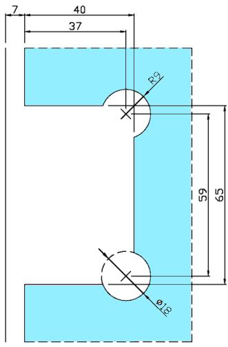 ガラス切り欠き図 B8201-3