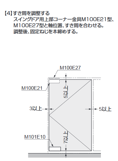 ソフトクロージング機構付下部コーナー金具M101E10型.取付説明.コーナー金具の取付け4