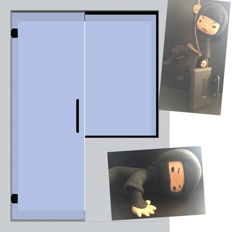 blacky-hing片開き戸+FIX腰壁イメージ図
