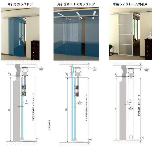 超電導引戸「リニアガラスドア・MAGLEV(マグレヴ)」片開きガラスドア引き&FIXガラスドア木製orフレーム付引き戸