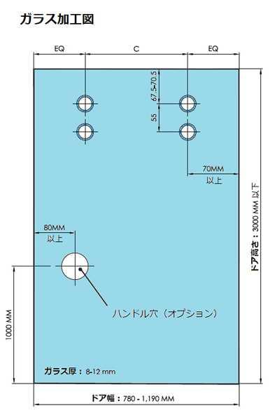 超電導引戸「リニアガラスドア・MAGLEV(マグレヴ)」ガラス加工図