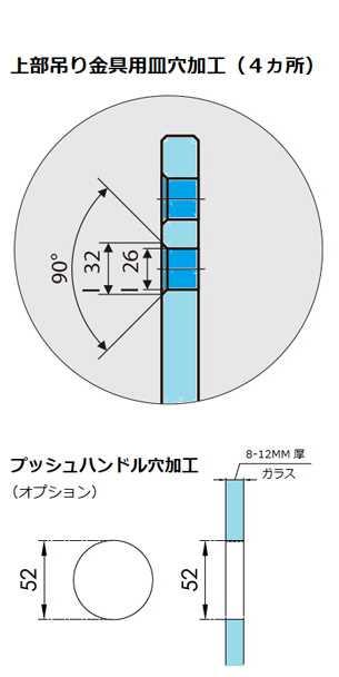 超電導引戸「リニアガラスドア・MAGLEV(マグレヴ)」上部吊り金具用皿穴<br /> 加工(4カ所)