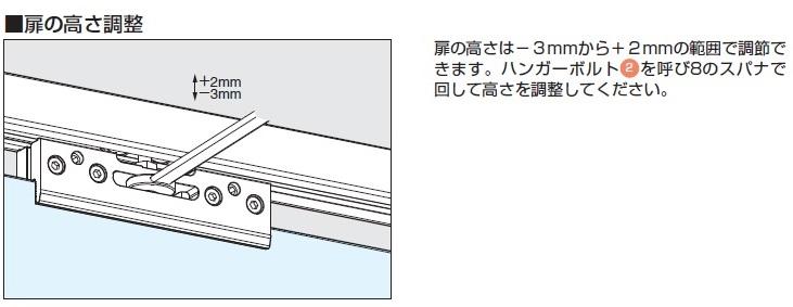 バニオ 40GFE扉の高さ調整