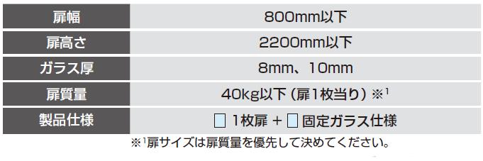 製品仕様: 両側壁取付/1枚扉+固定ガラス仕様 .扉幅:800mm以下.扉高さ:2200mm以下.ガラス厚:8mm、10mm.扉質量:40kg以下(扉1枚当り).