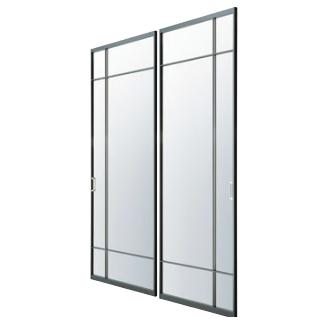 アルミ枠ガラス引戸『住楽(じゅら)』JURA-BK-DSGR ガラス+両面鉄9mm角変形格子